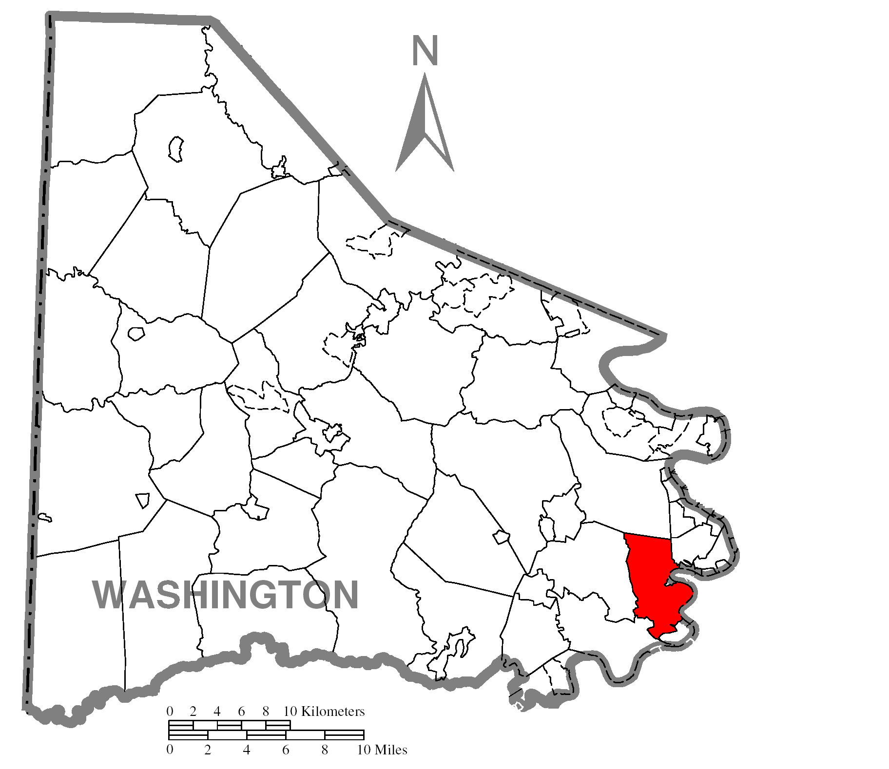Map Of Californiac Washington Countyc Pennsylvania Highlighted