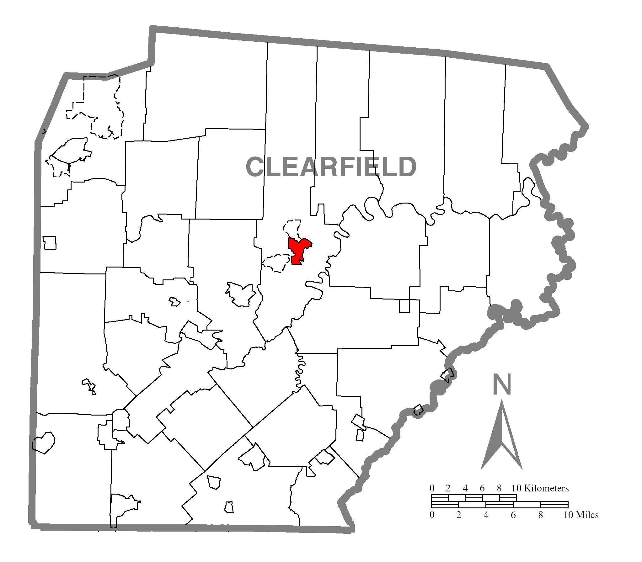 Map Of Clearfieldc Clearfield Countyc Pennsylvania Highlighted