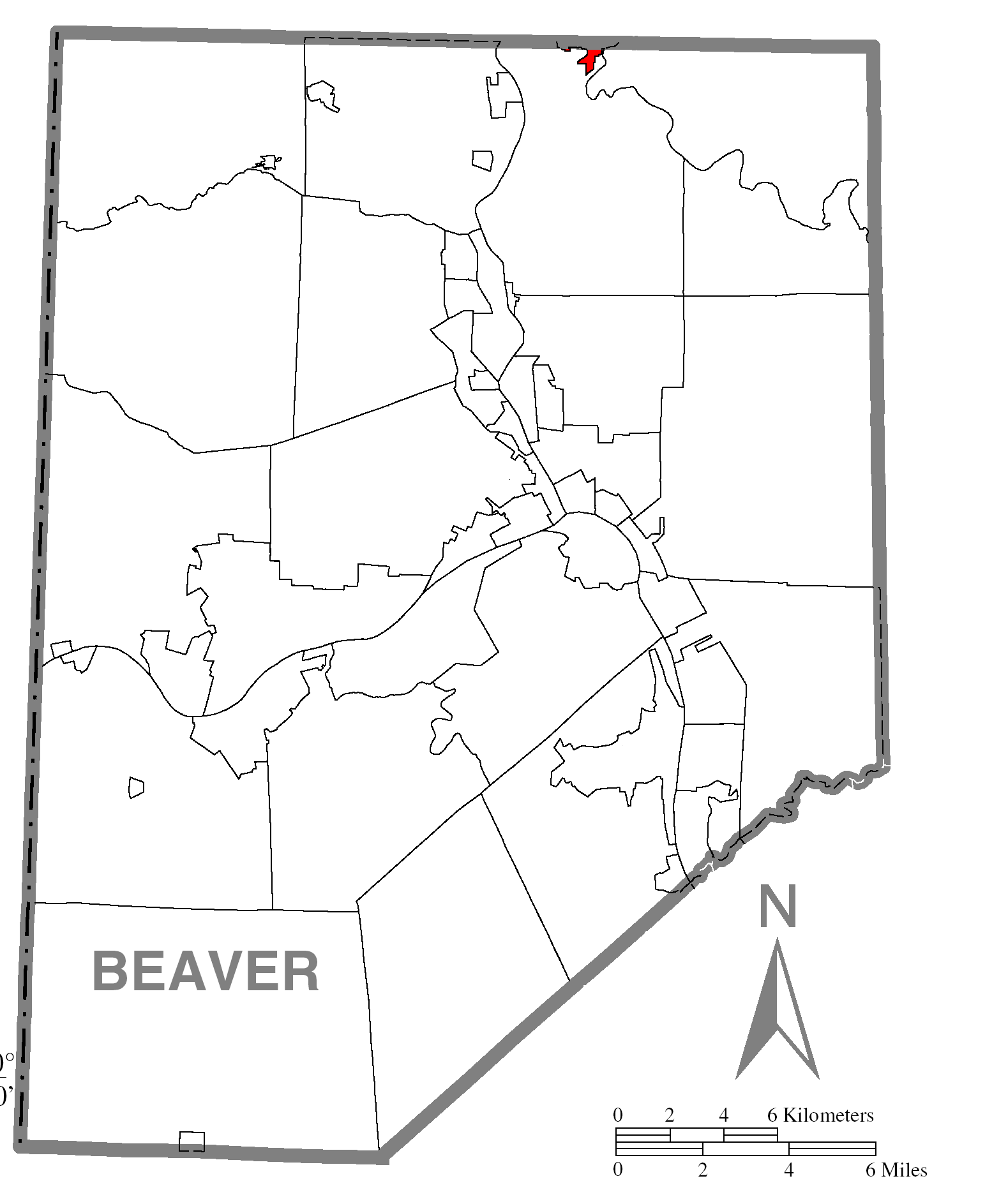 Map Of Elwood Cityc Beaver Countyc Pennsylvania Highlighted