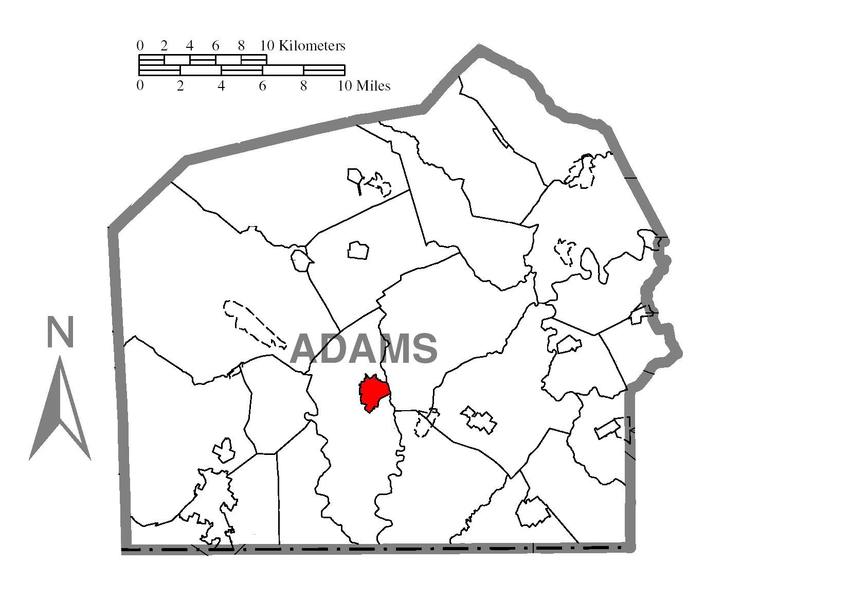 Map Of Gettysburgc Adams Countyc Pennsylvania Highlighted