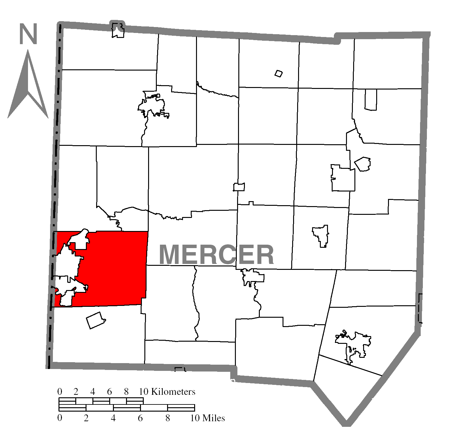 Map Of Hermitagec Mercer Countyc Pennsylvania Highlighted