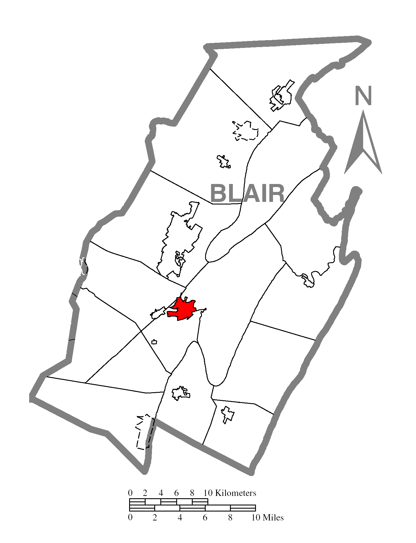 Map Of Hollidaysburgc Blair Countyc Pennsylvania Highlighted