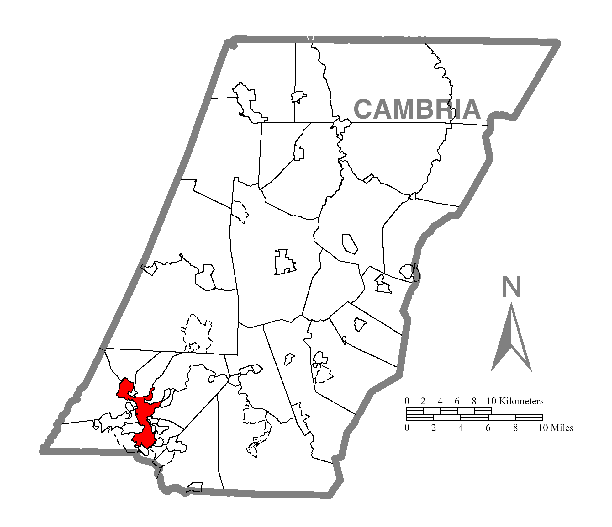 Map Of Johnstownc Cambria Countyc Pennsylvania Highlighted
