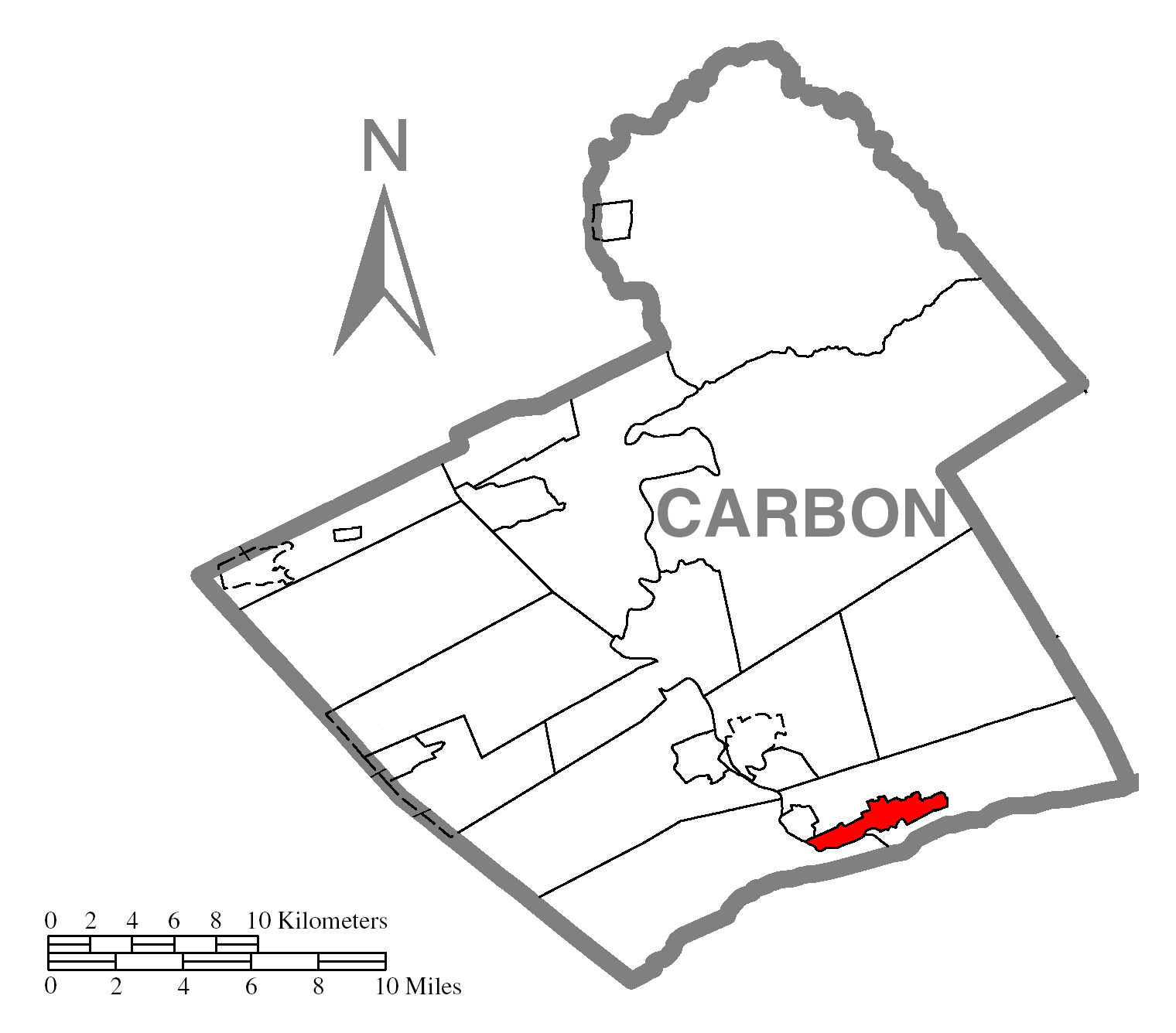 Map Of Palmertonc Carbon Countyc Pennsylvania Highlighted