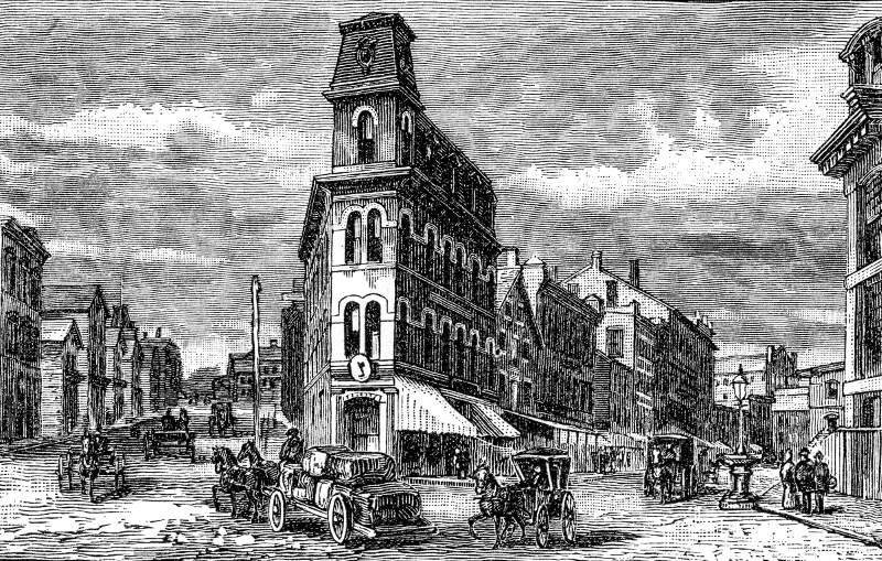 Downtown Woonsocket Rhode Island Engraving