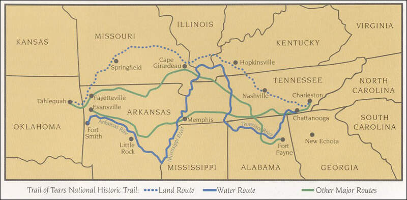 Trail Of Tears Map Nps