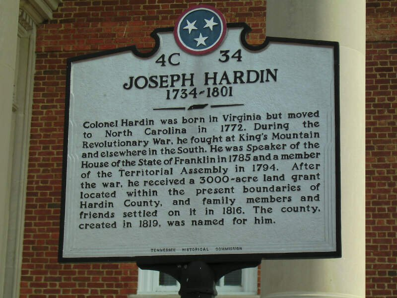 Joseph Hardin Courthouse Plaque Savannah Tn