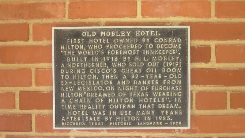 Old Mobley Hotel Historical Markerc Ciscoc Tx Img