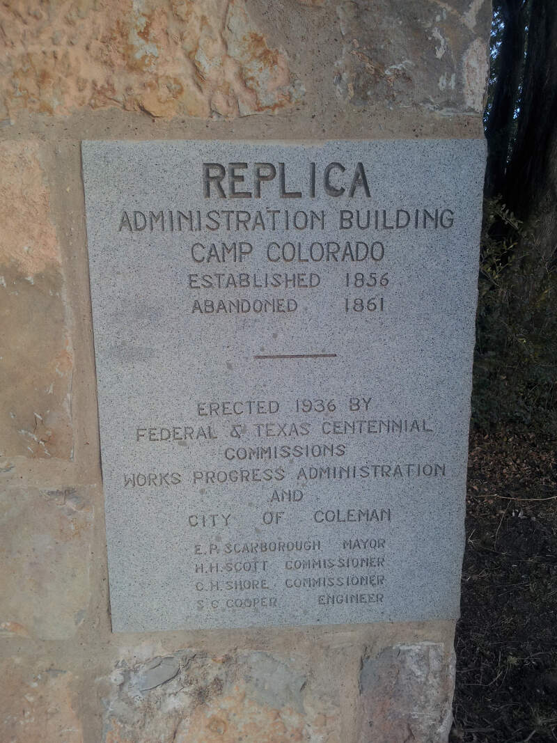 Camp Colorado Administration Building Plaque