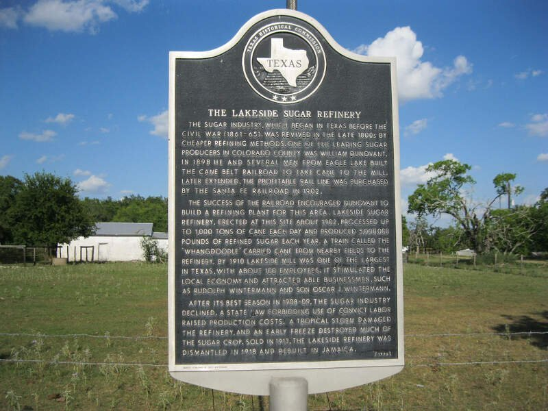 Eagle Lake Tx Sugarcane Marker