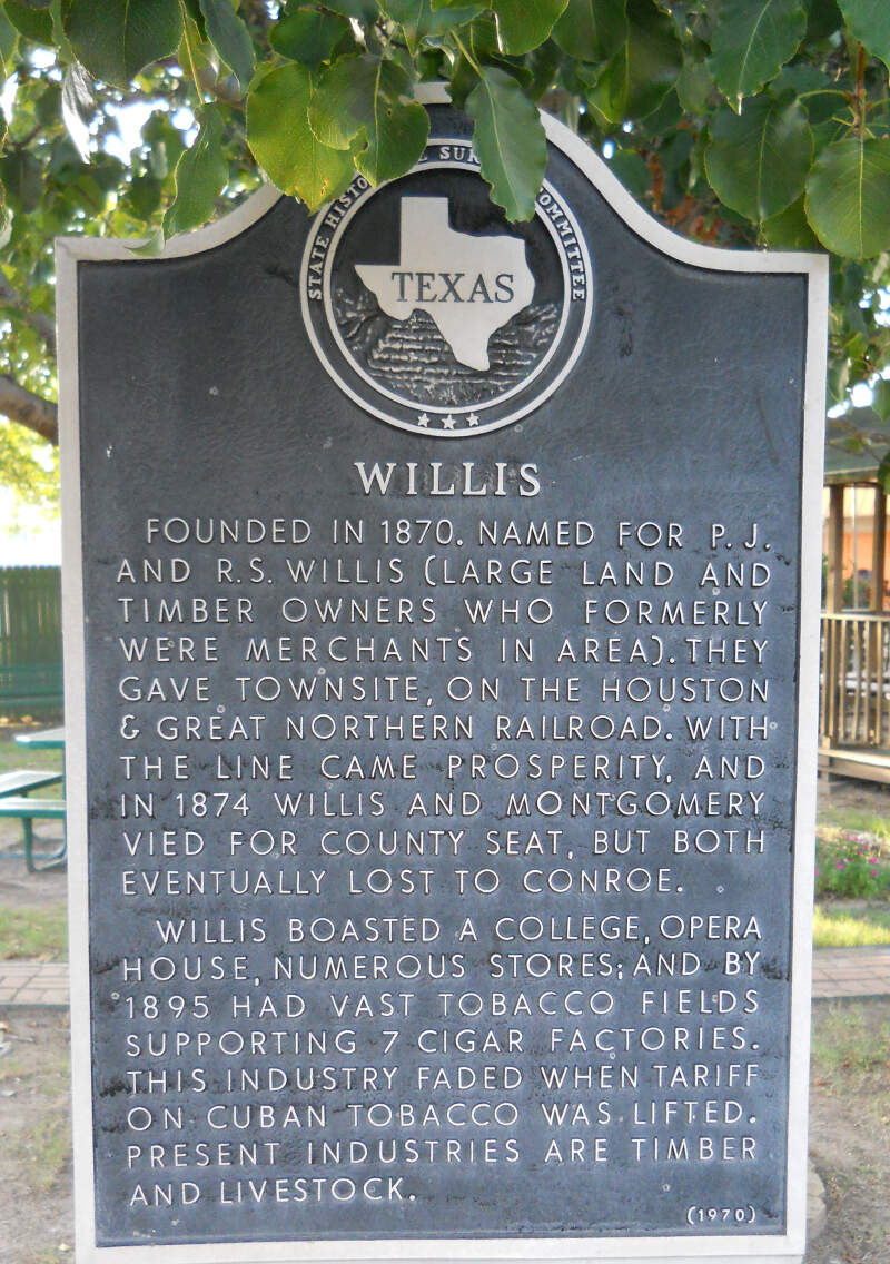 Founding Of City Of Willisc Texas Historical Marker