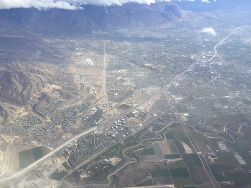 View From An Airplane Of The Cities Of Lehic American Fork And Highlandc Utah Along Interstate