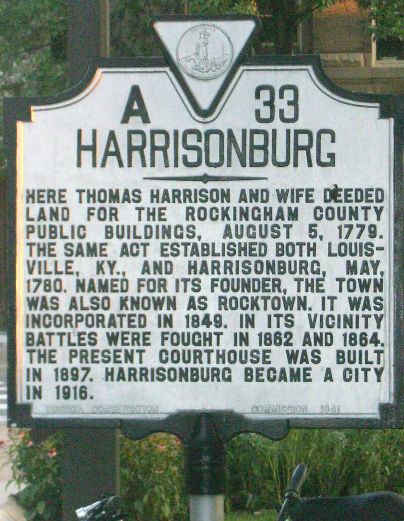 Historical Marker Harrisonburgc Virginia A