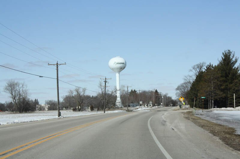 Dousman Wisconsin Water Tower Entering From South Wis