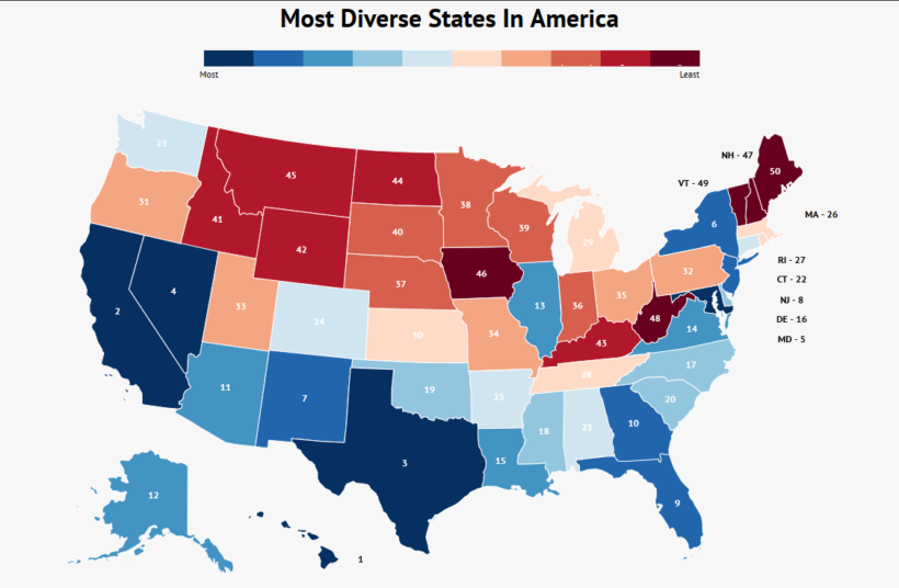 most-diverse-states-in-america-map