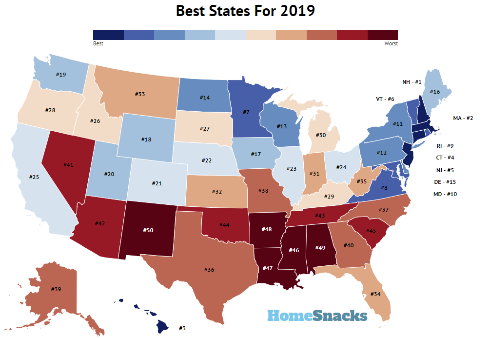 The Best And Worst Education News In >> 10 Best States To Live In America Homesnacks