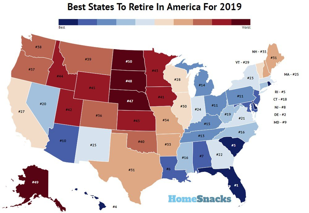 Best State To Retire In 2019 These Are The 10 Best States To Retire In America For 2019